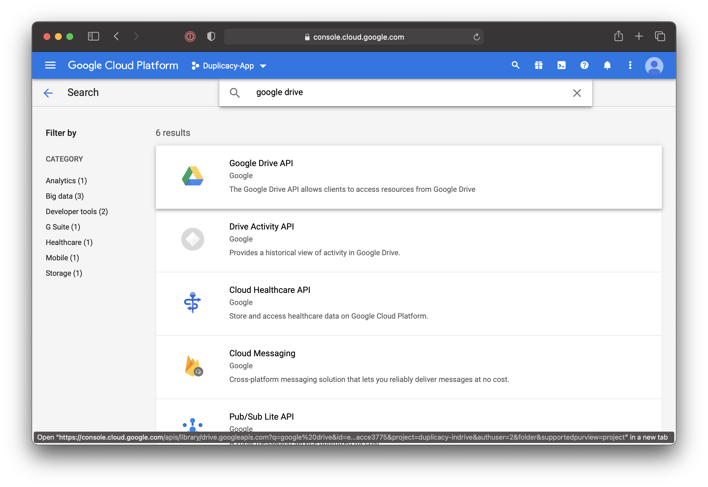 Search for Google Drive